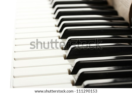 background of piano keyboard, close up - stock photo