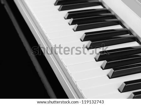 background of piano keyboard, close up - stock photo