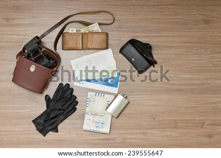 Background of random travel objects, with a retro touch - stock photo