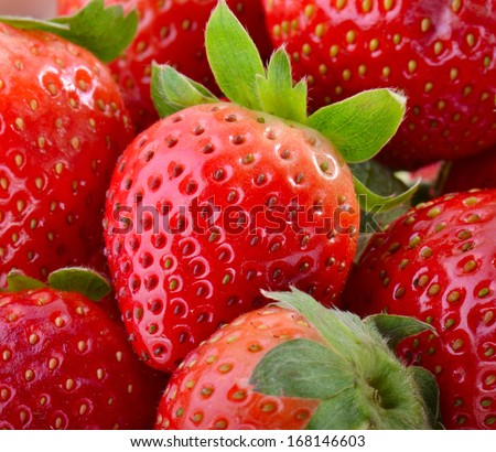 background of red big juicy ripe strawberries  - stock photo