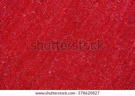 background of red fabric, wool yarn - stock photo