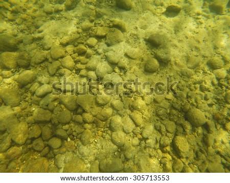 Background of Rocks, Sand, and Algae on the Bottom of a Lake - stock photo