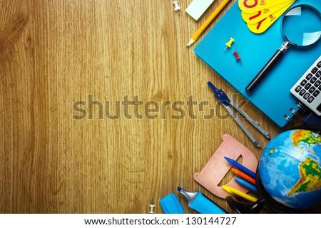 Background of school supplies - stock photo