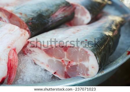 Background of sea fish flesh on fish market in Vietnam - stock photo