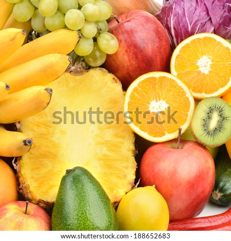 Background of set fruits and vegetables - stock photo