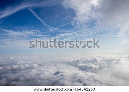 Background Of Sky And Clouds aerial view - stock photo