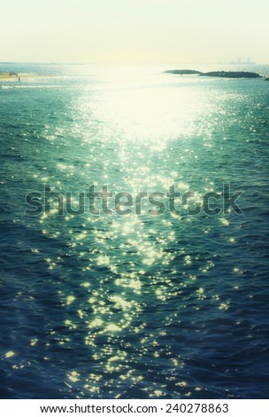 background of sunset and sea waves. filtered image - stock photo