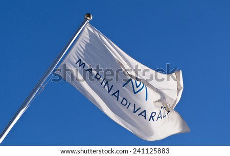Background of the flag of the Varazze Yacht Club, Varazze, Savona, Liguria, Italy - stock photo