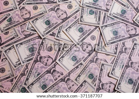 background of the money, five dollar bills front side face. background of dollars, close up - stock photo