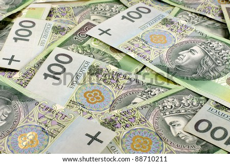 Background of the polish national currency zloty - stock photo