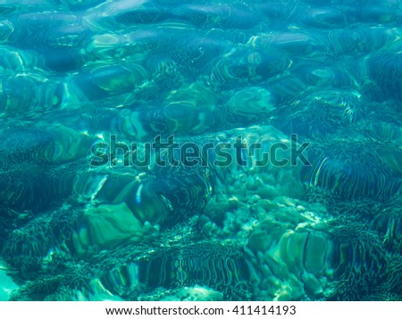 Background of transparent crystal blue sea water surface and coral underwater in summer. - stock photo