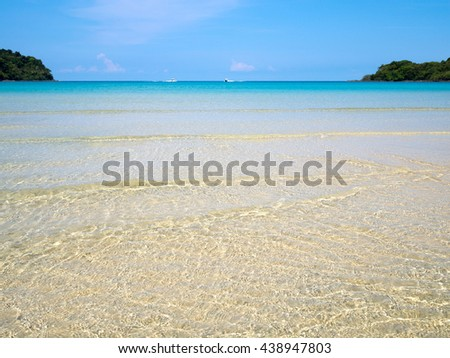 Background of transparent crystal blue sea water surface ripple over sand with sun reflection in summer. Water background. Ocean water texture. - stock photo
