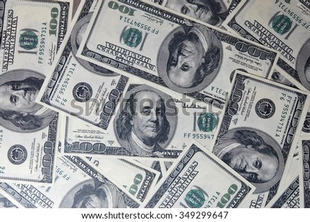 Background of US hundred dollar bills - stock photo