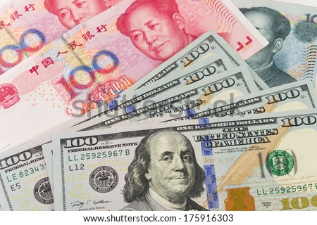 Background of US one hundred dollar and China Yuan notes - stock photo