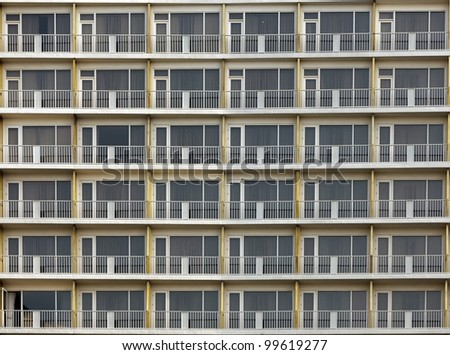 background of vintage residential building windows - stock photo