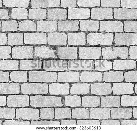 Background of white brick wall seamless close-up texture / room interior vintage with white brick wall and wood floor background / Seamless texture. Perfect tiled on all sides - stock photo