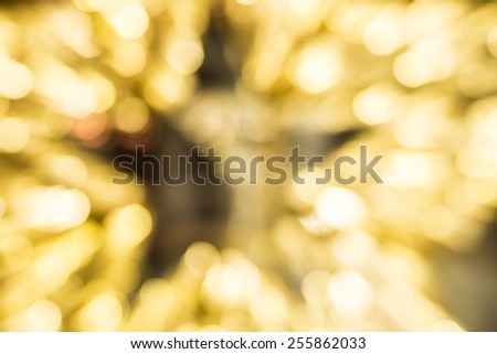 background of yellow night light Bokeh stars dark inside figure Abstract art backdrop  - stock photo