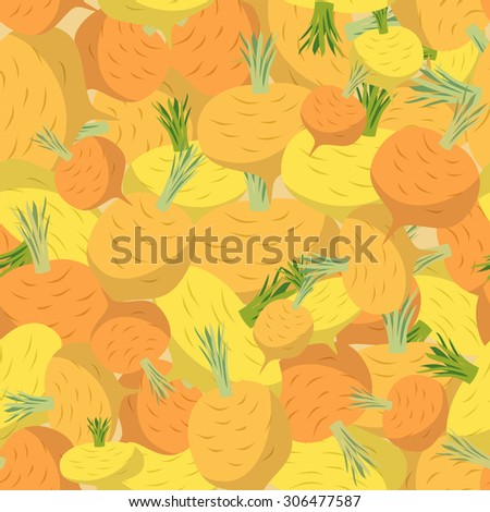 Background of yellow turnips. Seamless pattern of vegetables  - stock photo