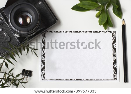 background on travel, photographing, freelance. On a blank sheet there are places for the text. - stock photo