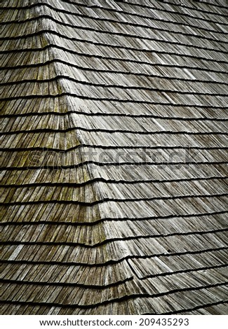 background or texture slant on old wooden shingles roof - stock photo
