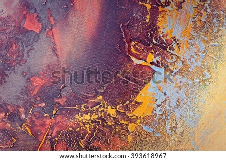 background painted paints on canvas, Grunge colorful background, art grunge vintage textured background with bright golden yellow,, orange, red, white and black blots, art abstract orange grunge - stock photo