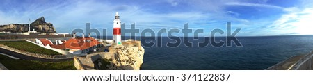 background panoramic view of Gibraltar Point Lighthouse Europa Point and the Atlantic Ocean, Gibraltar, United Kingdom - stock photo