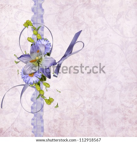 background paper with flowers and ribbon - stock photo