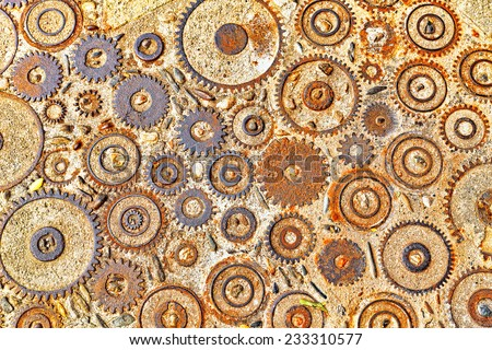 Background  pattern with cogs and gears. - stock photo