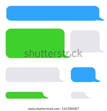 background phone sms chat bubbles in grey blue green colors - stock photo