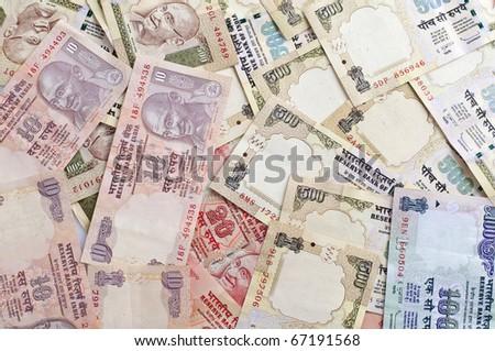 background photo of indian rupee - stock photo