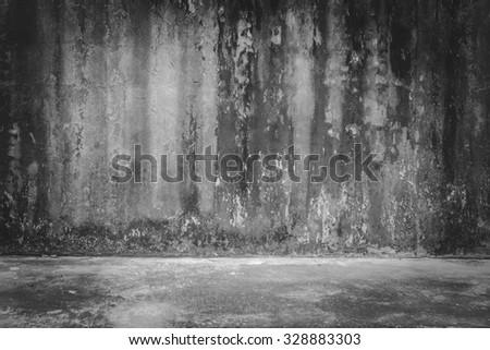 background rough old cement plaster wall , black and white - stock photo