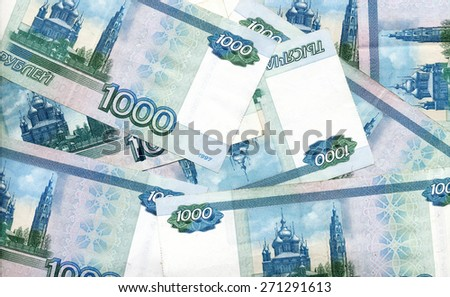 background - Russian 1000 rubles banknotes - stock photo