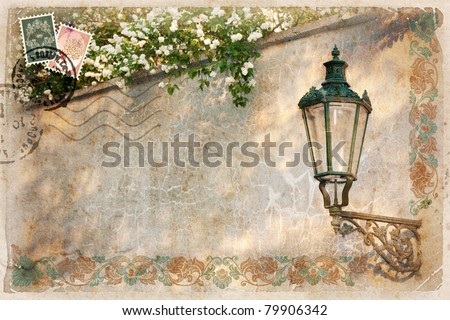 Background, stylized as vintage postcard, with street lamp and white lilacs. There's space for your text. - stock photo