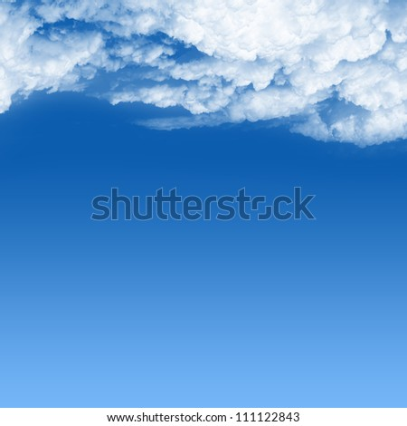 Background Template With Space for Text Message in Blue Sky Under The White Cloud Isolated on White Background - stock photo