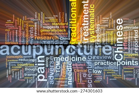 Background text pattern concept wordcloud illustration of acupuncture treatment glowing light - stock photo