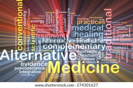 Background text pattern concept wordcloud illustration of alternative medicine glowing light - stock photo