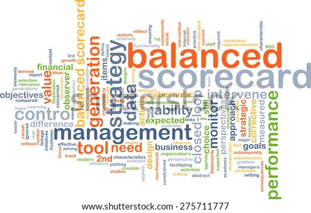 Background text pattern concept wordcloud illustration of balanced scorecard - stock photo