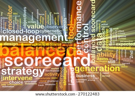 Background text pattern concept wordcloud illustration of balanced scorecard glowing light - stock photo