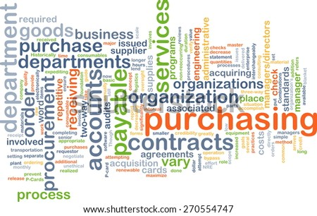 Background text pattern concept wordcloud illustration of purchasing procurement - stock photo
