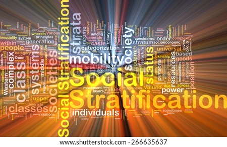 Background text pattern concept wordcloud illustration of social stratification glowing light - stock photo