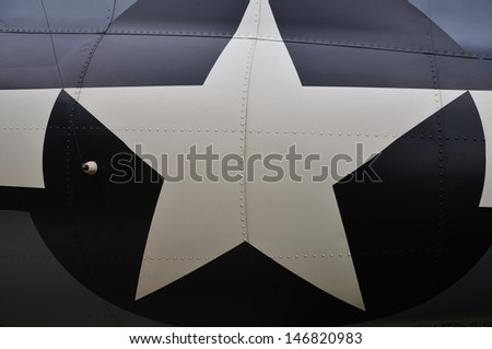 background texture of a navy plane rivets - stock photo