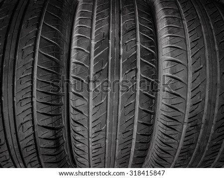 Background texture of old car tires - stock photo