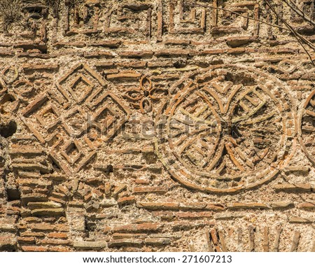 background texture of the ruins of ancient Constantinople, Istanbul - stock photo