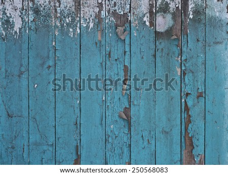 Background, texture. Old, worn, green boards - stock photo