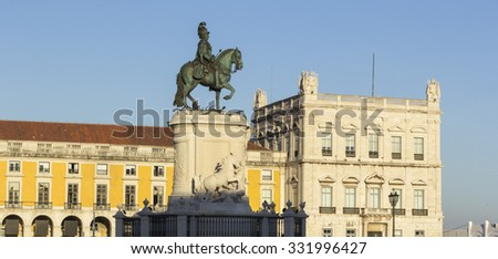 Background view of the monument to King Jose first on Commerce Square in Lisbon, Portugal - stock photo