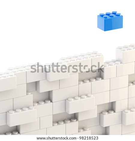Background wall made of toy construction brick blocks - stock photo