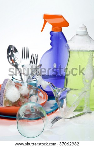 Background washing ware. Kitchen utensil - stock photo