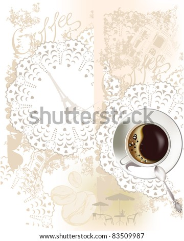 Background with a coffee-cup - stock photo