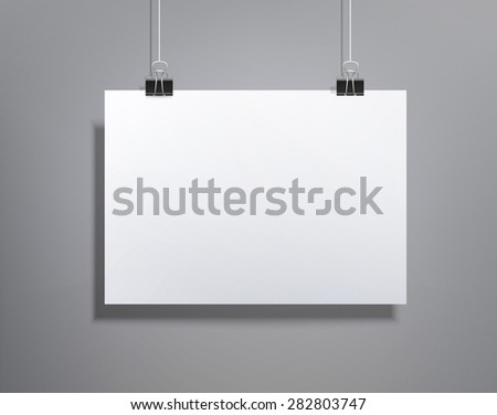 background with a piece of paper hanging on the wall (element for design, template , horizontal) - stock photo