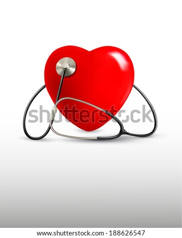 Background with a stethoscope and a heart.  Raster version - stock photo